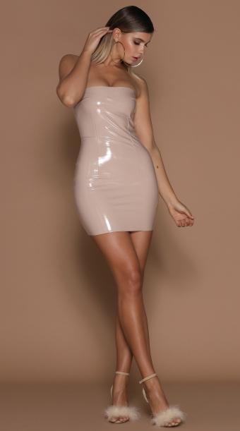 Saskia Strapless Latex Dress Nude