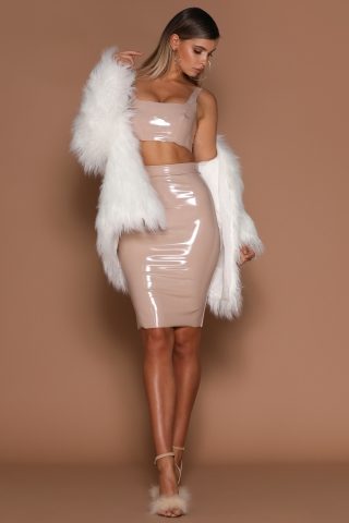 Everly Latex Crop Top and Harper Latex Pencil Midi Skirt, both in nude, with the brand new Arabella Faux Fur Jacket in White.